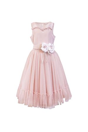Pink soft touch taffeta dress with belt with applied flowers Petit Petit | 11 | 2014548T641983
