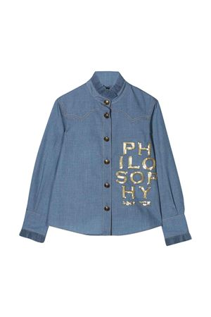 Camicia indaco denim con logo Philosophy kids PHILOSOPHY KIDS | 5032334 | PJCA29TV581VHUNI0110