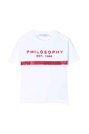 White teen t-shirt with sequins Philosophy kids PHILOSOPHY KIDS | 8 | PJTS29JE138VH0020022T