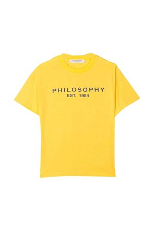 Yellow teen t-shirt with frontal logo Philosophy kids PHILOSOPHY KIDS | 8 | PJTS29JE138VH0210153T