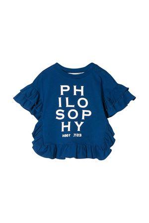 T-shirt blu con stampa logo frontale Philosophy kids PHILOSOPHY KIDS | 8 | PJTS32JE138VH0220166