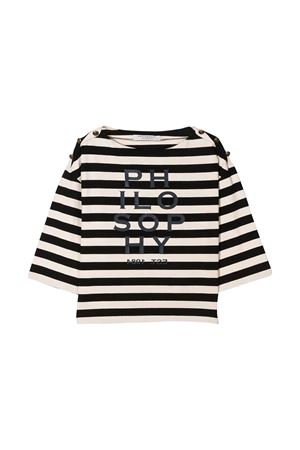 T-shirt avorio con righe nere Philosophy kids PHILOSOPHY KIDS | 8 | PJTS38JR02VH0050012