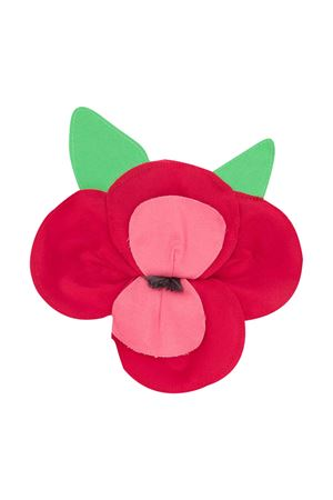 Red flower-shaped brooch Piccola Ludo