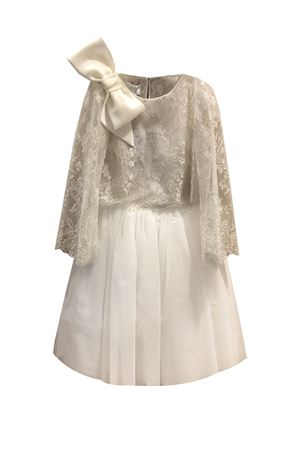 Two-piece white silk dress with applied bow model Acquamarina Raffaella