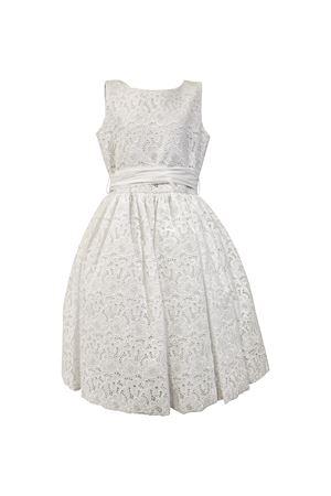 Abito bianco in pizzo modello Agata con cintura e fiori applicati posteriormente Raffaella RAFFAELLA | 11 | AGATA3701