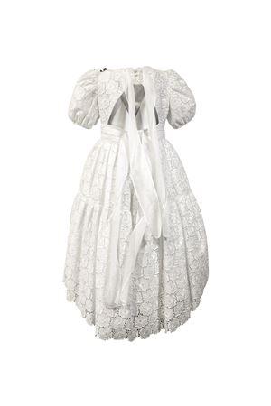 White dress in lace Alabastro model with balloon sleeves and flower applied Raffaella RAFFAELLA | 11 | ALABASTRO501