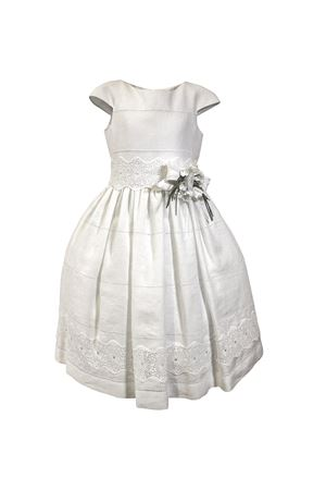 White linen dress Amethyst model with flowers applied on the belt Raffaella RAFFAELLA | 11 | AMETISTA10CORTO01