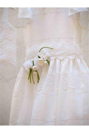 White linen dress Amethyst model with flowers applied on the belt Raffaella RAFFAELLA | 11 | AMETISTA10CORTO01