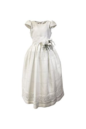 Long white dress with belt with bow and flower applied Raffaella RAFFAELLA | 11 | AMETISTA2601
