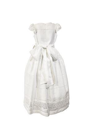 Long white dress with belt with bow and flower applied Raffaella RAFFAELLA | 11 | AMETISTA2601