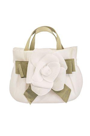 White fabric bag model Alabastro with flower applied Raffaella RAFFAELLA | 31 | BOALABASTRO01
