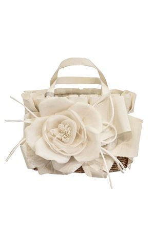 Straw bag with white flower applied Perla Raffaella model RAFFAELLA | 31 | BOPAGLIAPERLA01