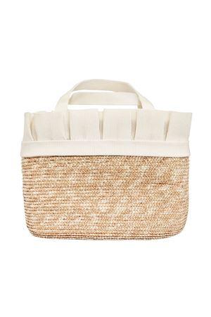 Straw bag with white flower applied Perla Raffaella model RAFFAELLA | 31 | BOPAGLIAPERLA01