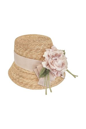 Straw hat with pink flower applied Turchese model Raffaella RAFFAELLA | 75988881 | CAPPAGLIA60TURCHESE01
