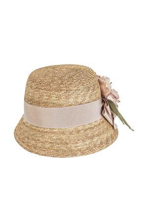 Straw hat with pink flower applied Turchese model Raffaella RAFFAELLA | 75988881 | CAPPAGLIA60TURCHESE01