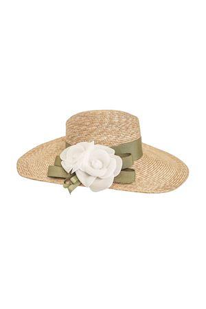Cappello di paglia con fiore bianco applicato modello Alabastro Raffaella RAFFAELLA | 75988881 | CAPPAGLIAALABASTRO01