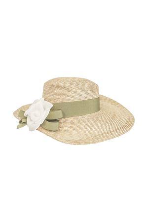 Straw hat with white flower applied Alabaster Raffaella model RAFFAELLA | 75988881 | CAPPAGLIAALABASTRO01