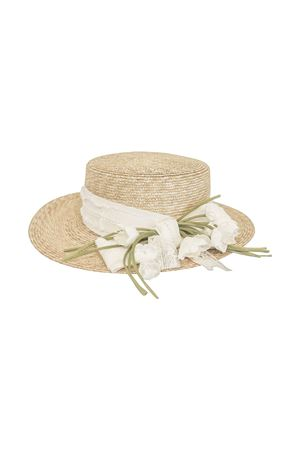 Straw hat with flowers and tulle applied model Ametista Raffaella