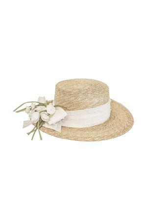 Straw hat with flowers and tulle applied model Ametista Raffaella RAFFAELLA | 75988881 | CAPPAGLIAAMETISTA01