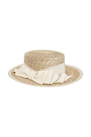 Straw hat with white bow applied model Perla Raffaella RAFFAELLA | 75988881 | CAPPAGLIAPERLA01