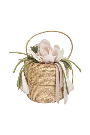 Straw bag with flower applied Rubino model Raffaella RAFFAELLA | 31 | CESTORUBINO01