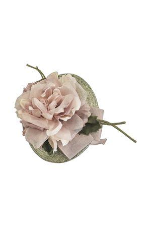 Green hat with pink applied flowers Turchese model Raffaella RAFFAELLA | 75988881 | COPRICAPOTURCHESE01