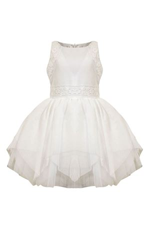 White pearl embroidered tulle dress with belt Raffaella RAFFAELLA | 11 | PERLA1TULLE01