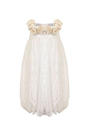 Empire style pearl white dress with applied flowers Raffaella RAFFAELLA | 11 | PERLA2STILEIMPERO01