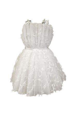 White Rodonite model dress with tulle, front bow and applied flowers Raffaella RAFFAELLA | 11 | RODONITE33BIANCO