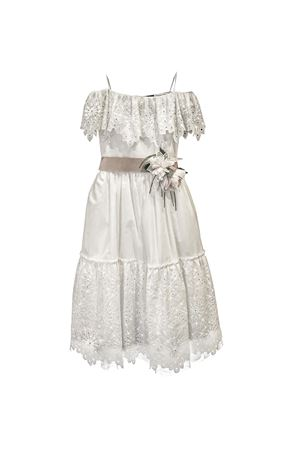Long white lace dress Selenite model with pink belt with flower applied Raffaella RAFFAELLA   11   SELENITE6LUNGO01