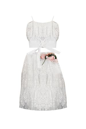 White lace dress with bow and belt with flower applied Selenite Raffaella model RAFFAELLA | 11 | SELENITE8801