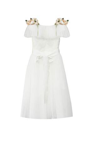 Long white dress with tulle and applied flowers model Topazio Raffaella RAFFAELLA | 11 | TOPAZIO18LUNGO01