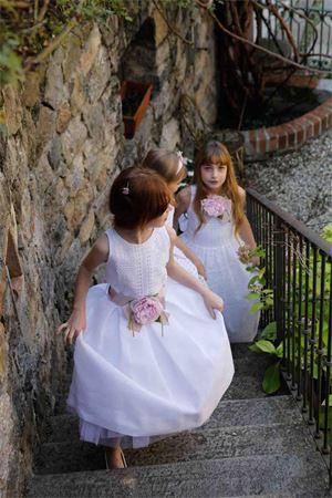 White linen dress Turchese model with belt with flower applied Raffaella RAFFAELLA | 11 | TURCHESE2001
