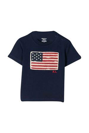 T-shirt blu con logo ricamato Ralph Lauren kids RALPH LAUREN KIDS | 8 | 320695660002