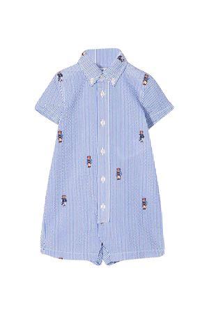 Romper with blue stripes press Ralph Lauren Kids RALPH LAUREN KIDS | 1491434083 | 320786584001
