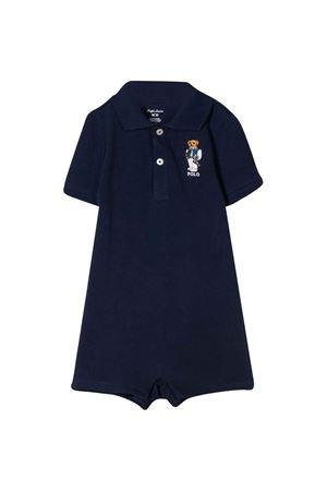 Polo blu con applicazione frontale Ralph Lauren kids RALPH LAUREN KIDS | 1491434083 | 320787302001