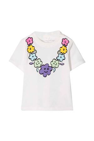 White t-shirt Stella McCartney kids baby with multicolor floral decoration on the front STELLA MCCARTNEY KIDS | 8 | 588428SOJC59232