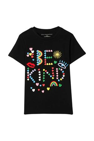 Black teen t-shirt with multicolor press Stella McCartney kids STELLA MCCARTNEY KIDS | 8 | 588684SOJ551073T