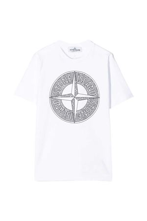 White teen t-shirt with frontal press Stone Island junior STONE ISLAND JUNIOR | 8 | 721621059V0001T