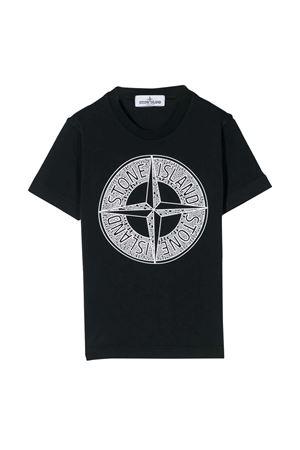T-shirt blu con stampa frontale Stone Island junior STONE ISLAND JUNIOR | 8 | 721621059V0020