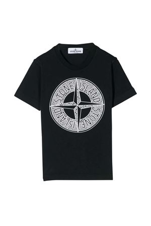 Blue teen t-shirt with frontal press Stone Island junior STONE ISLAND JUNIOR | 8 | 721621059V0020T