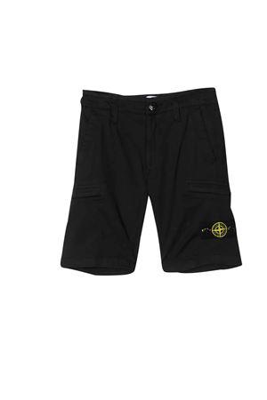 Shorts neri con logo frontale Stone Island junior STONE ISLAND JUNIOR | 30 | 7216L0512V0020