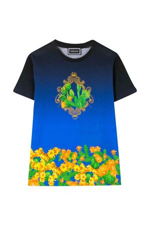 Blue teen t-shirt with multicolor press Young Versace YOUNG VERSACE | 8 | YD000169A232866A7388T