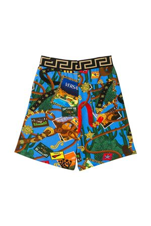 Blue bermuda shorts with multicolor press Young Versace YOUNG VERSACE | 30 | YD000184A232761A7000