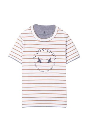 Striped teen t-shirt with Brunello Cucinelli kids logo Brunello Cucinelli Kids | 1169408113 | BQ863T122C002T