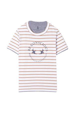 T-shirt a righe con logo Brunello Cucinelli kids Brunello Cucinelli Kids   1169408113   BQ863T122C002