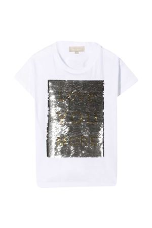 T-shirt bianca con paillettes oro Elie Saab Junior ELIE SAAB JUNIOR | 8 | 3O8001OA060100OR