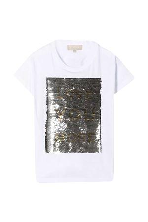 T-shirt teen bianca con paillettes oro Elie Saab Junior ELIE SAAB JUNIOR   8   3O8001OA060100ORT