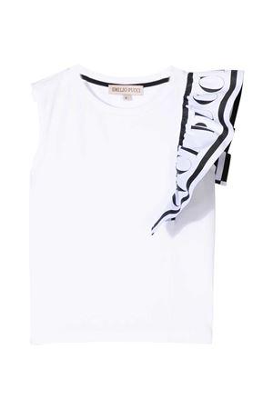 White tank top with ruches Emilio Pucci Junior EMILIO PUCCI JUNIOR | 485524886 | 9O8092OC200100
