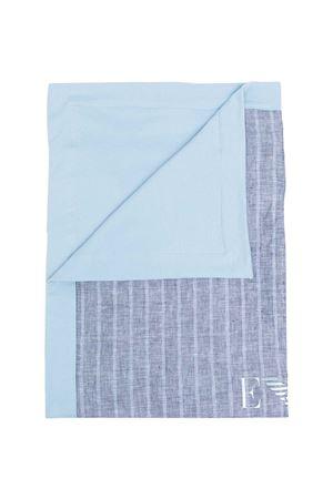 Light blue blanket with Emporio Armani kids striped print EMPORIO ARMANI KIDS | 69164127 | 4091711P91700931